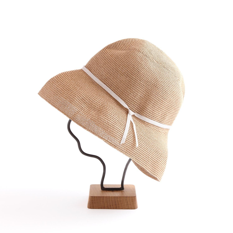 mature ha./WP paper braid light hat wide/mixbrown×light grey