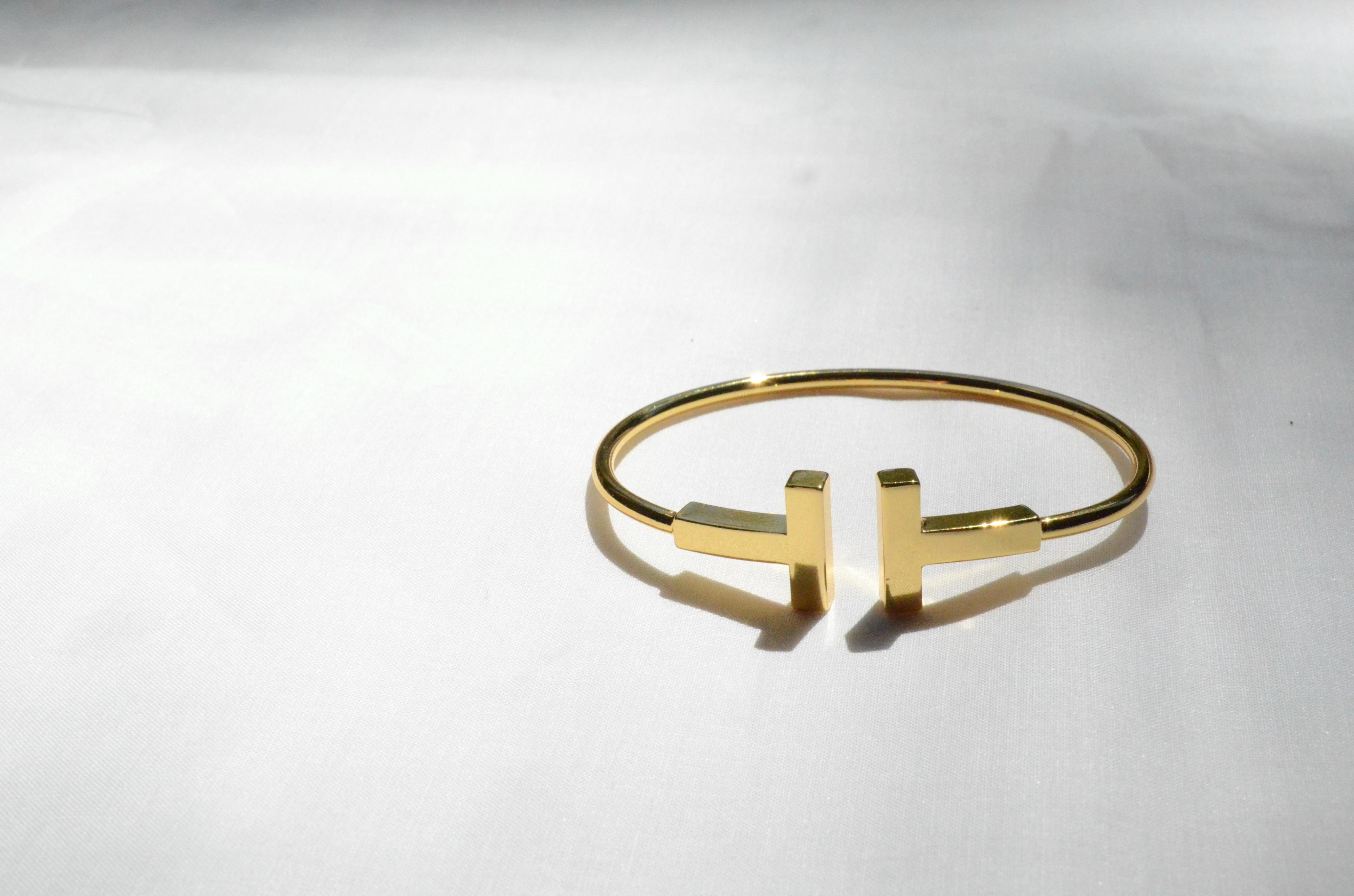 T型メタルバングルブレスレット ゴールド