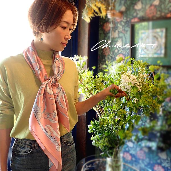 ◆即納◆春の新作 シルク100%スカーフ◆「フクロウのいる森 (salmon pink)」柄