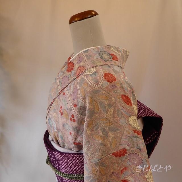 正絹ちりめん 薄紫の辻が花柄の小紋 袷