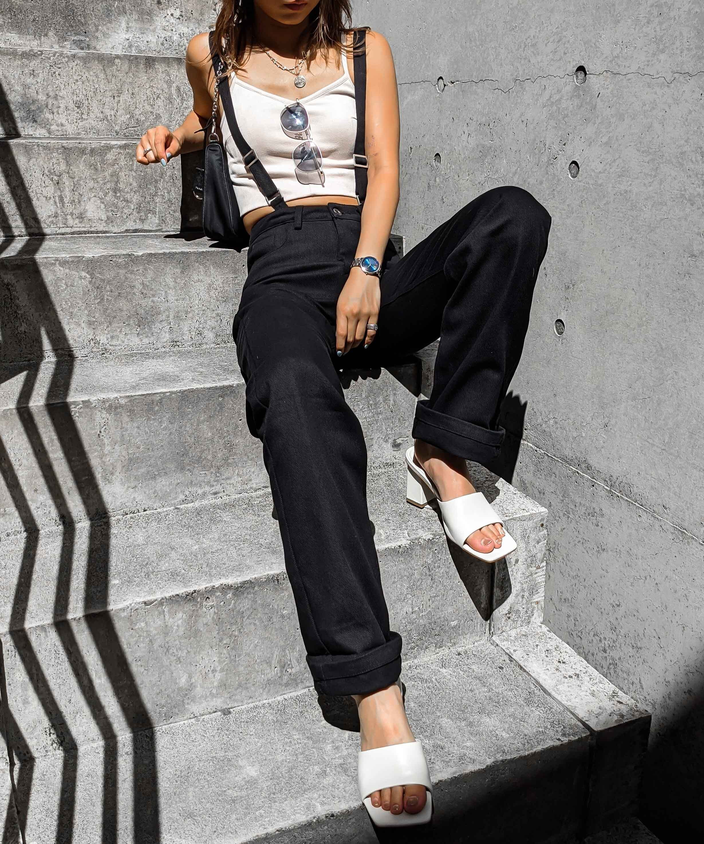 Roll up  suspender pants