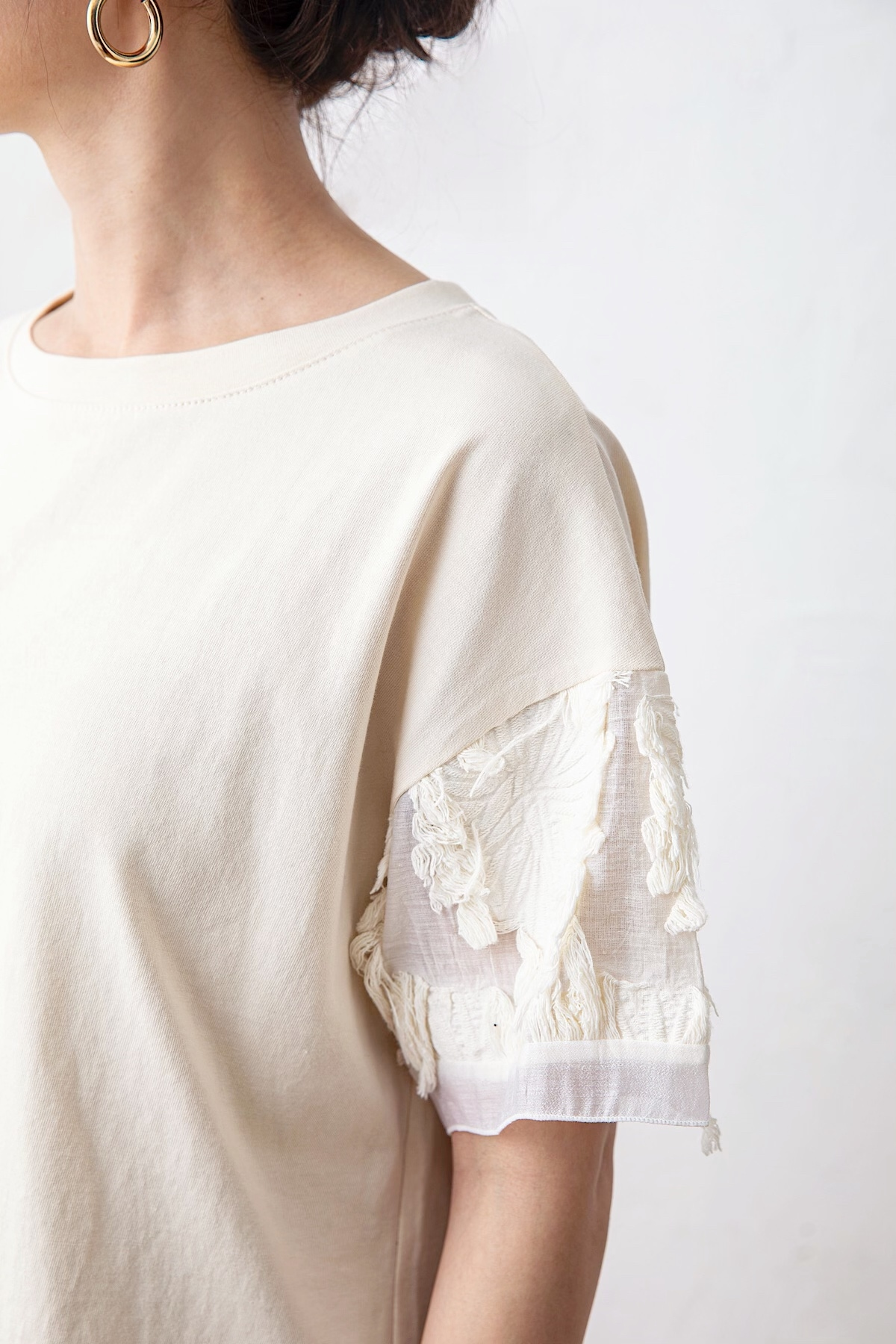ジャガードスリーブTシャツ <BEIGE>