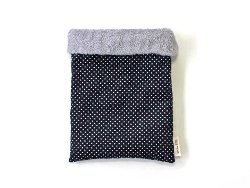 ハリネズミ用寝袋 M(冬用) コーデュロイ×ボアフリース ドット ネイビー