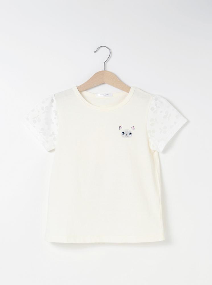 ヒマラヤン刺繍パフスリーブTシャツ【ホワイト】