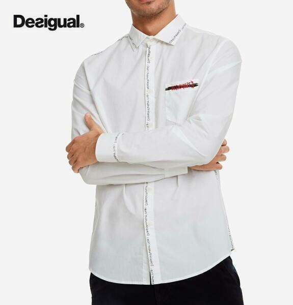 Desigual デシグアル メンズ トップス 白シャツ 長袖 ホワイト シャツ【正規取扱店】