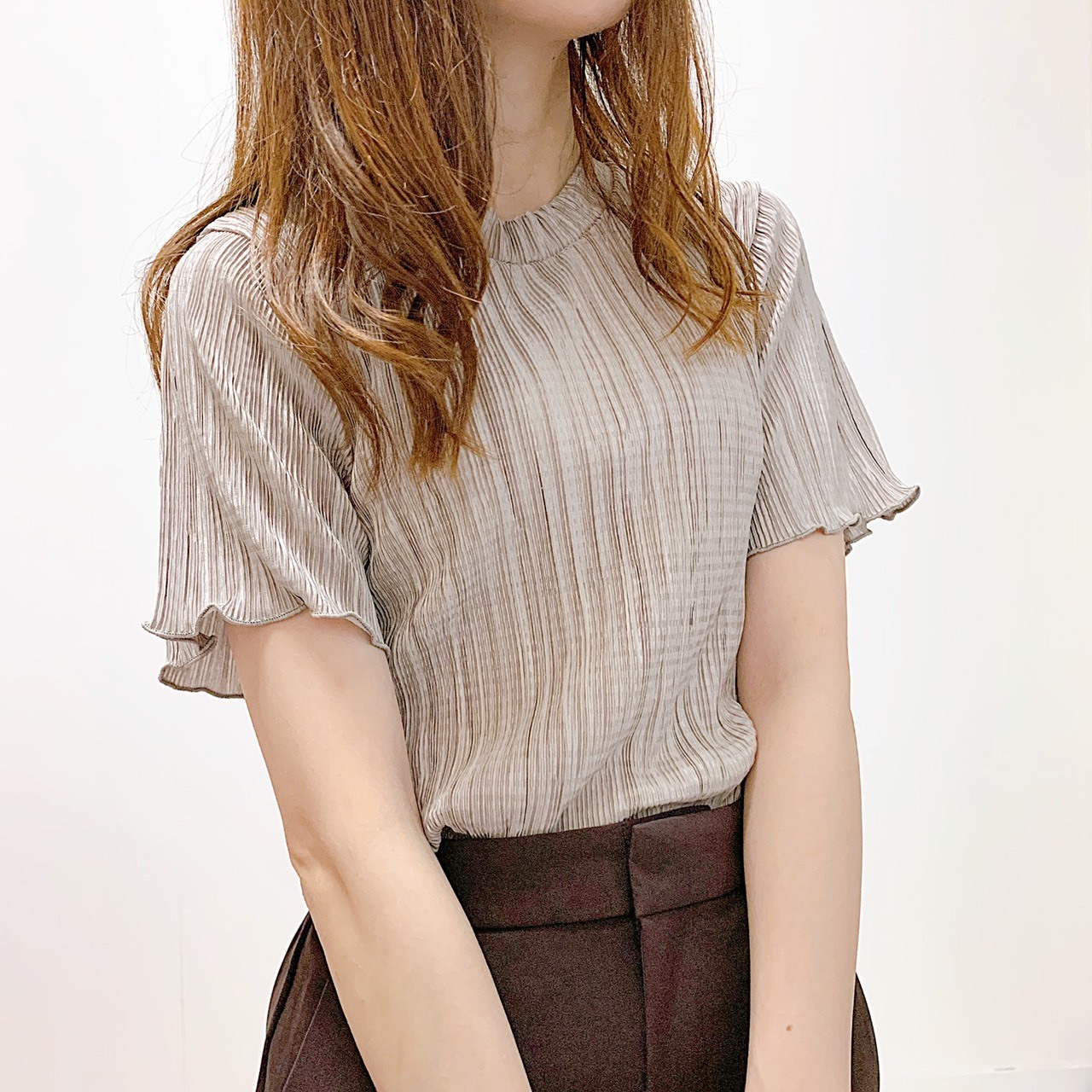 【即納】メロー袖プリーツシャツ