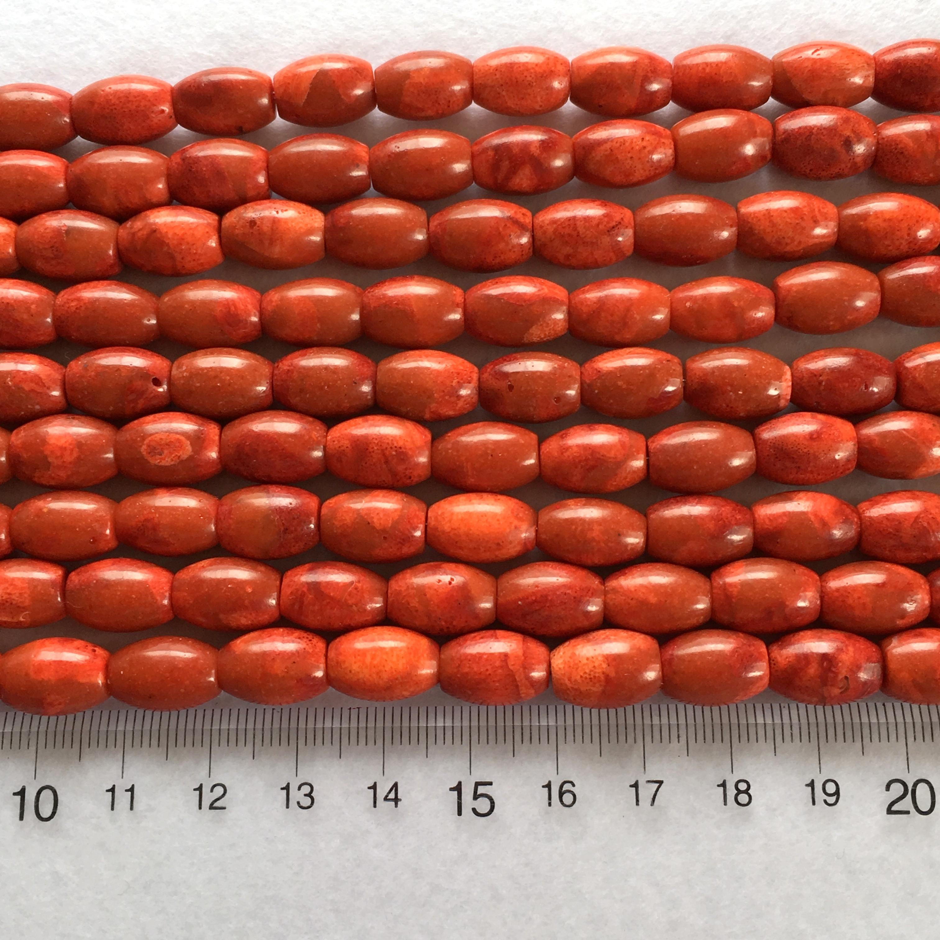 スポンジサンゴバレル型約12x8.5ミリ 連材【190178】