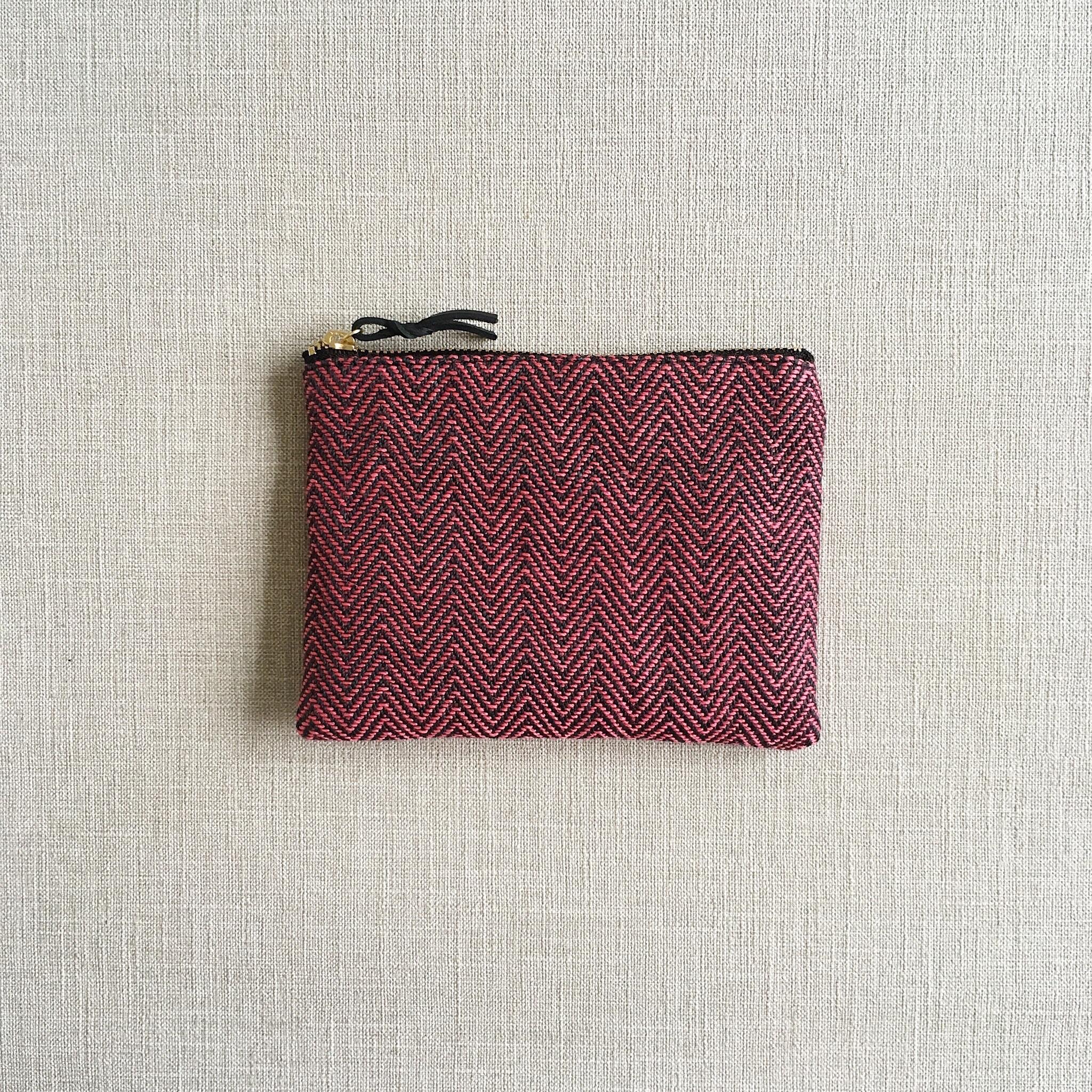 手織りミニポーチ(Accessory case 14cm Pink herringbone)