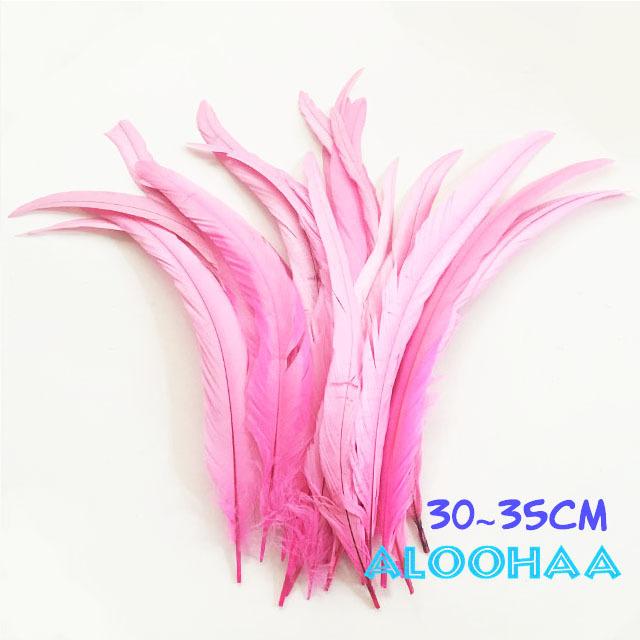 単色ロングフェザー 【ピンク】30~35cm タヒチアン 衣装 材料 ルースターテール 染め 羽根