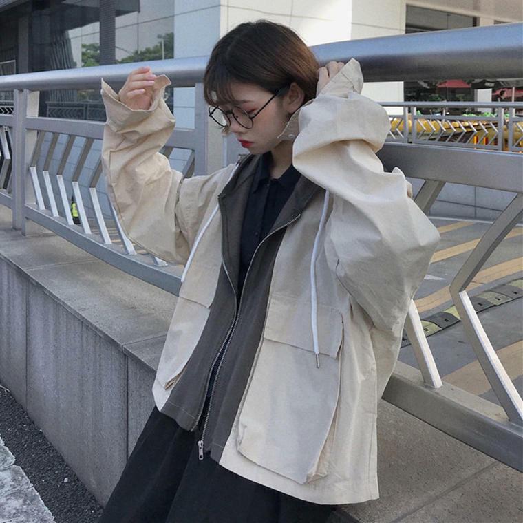 【送料無料】おしゃれな 重ね着風 ♡ スウェット パーカー フード付き オーバーサイズ カジュアル ブルゾン ライトアウター