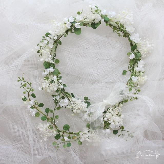 すずらんとかすみ草の花冠*バックガーランド付き&ヘアピック