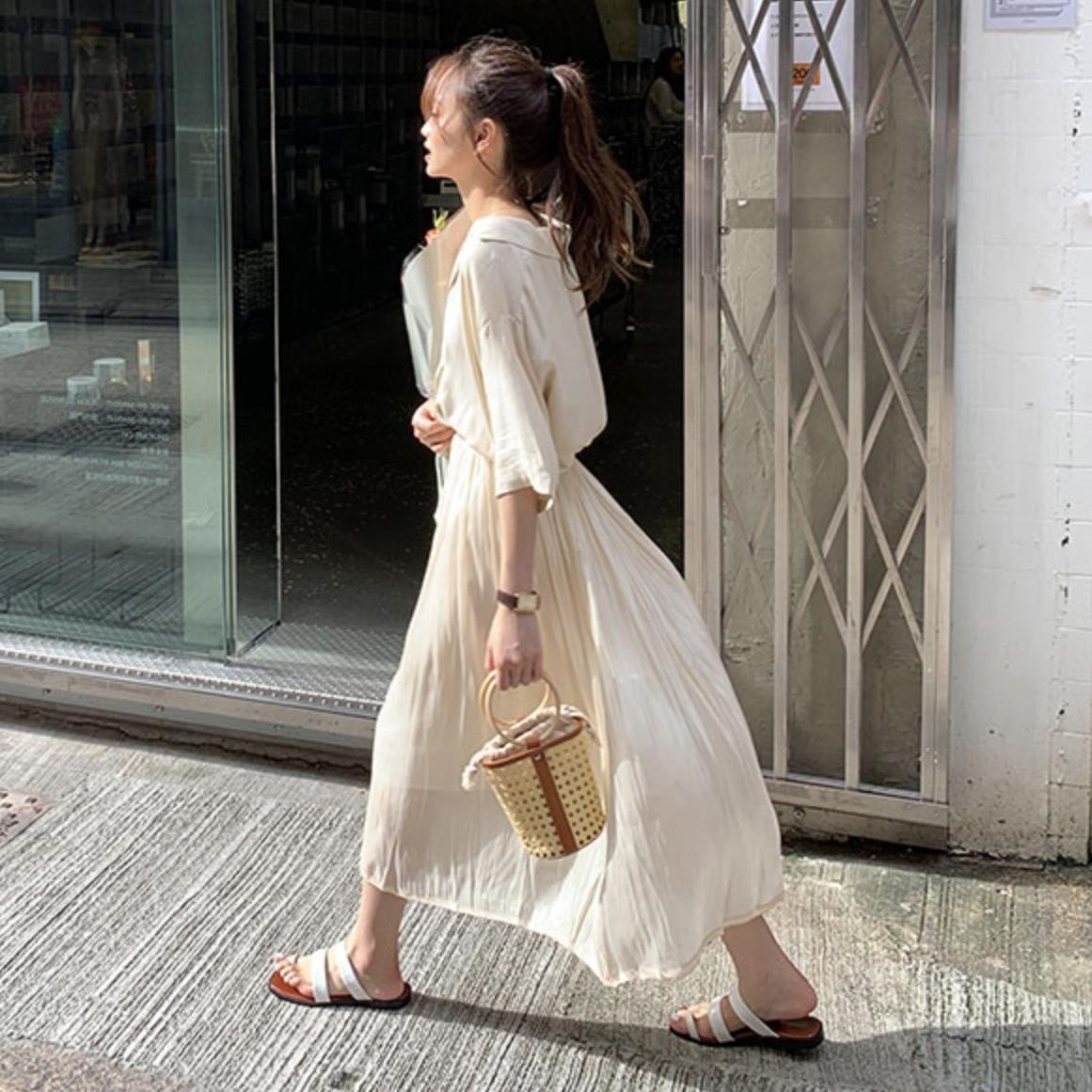 光沢 プリーツスカート b246