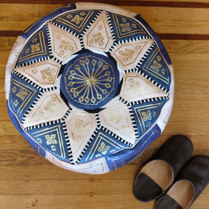 プフ・オットマン・革スツール / blue /m9b/ MOROCCO モロッコ