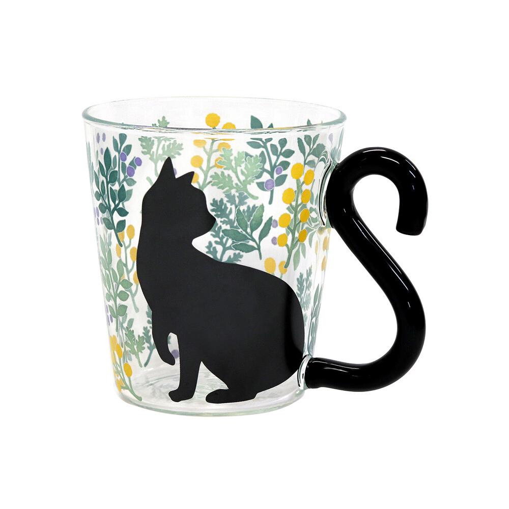 猫マグカップ(ボタニカル)黄色い実