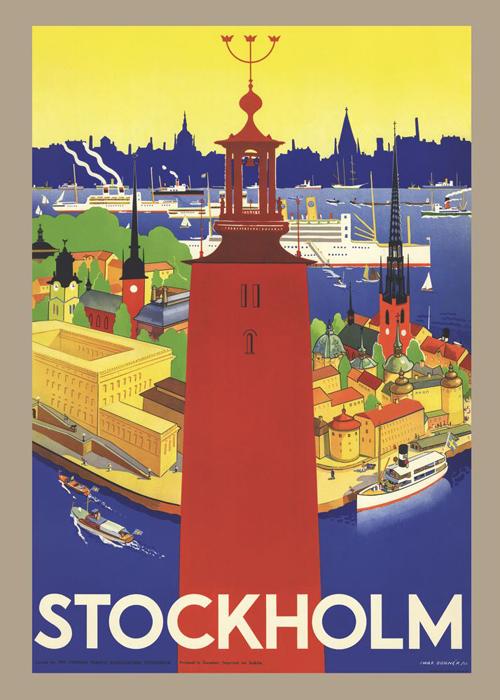 """Come to Sweden カムトゥスウェーデン インテリア レトロポスターB2  """"ストックホルム市庁舎"""""""