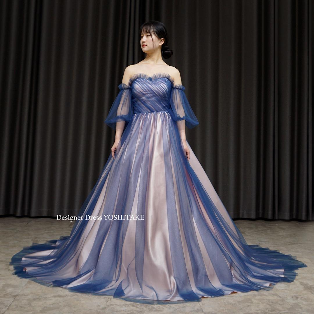 【オーダー制作】ウエディングドレス(無料パニエ) 薄めのピンクにブルーのチュールカラーウエディングドレス(パニエ付)披露宴.二次会※制作期間3週間から6週間