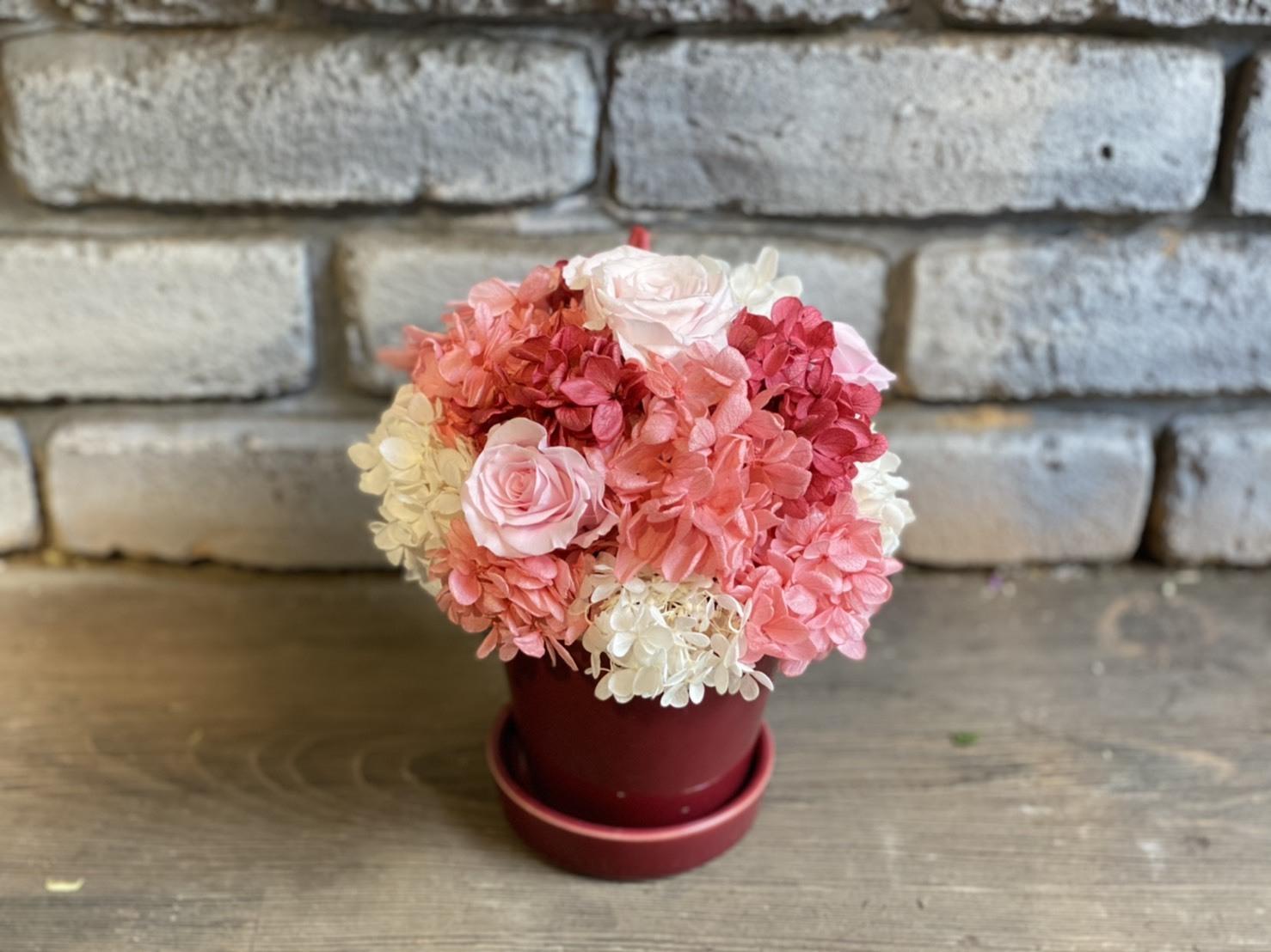 【母の日ギフト】プリザーブドフラワーアレンジメント ホワイトピンク