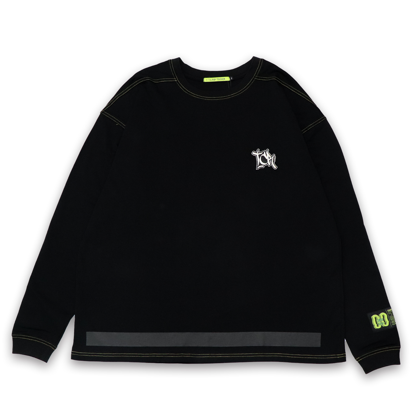 T.C.R EMBROIDERY LOGO L/S TEE - BLACK/YELLOW