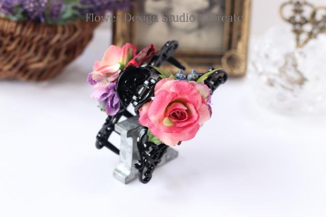 リボンと薔薇のバンスクリップ 髪飾り ヘアクリップ 紫陽花 ピンク バラ お出掛け フォーマル