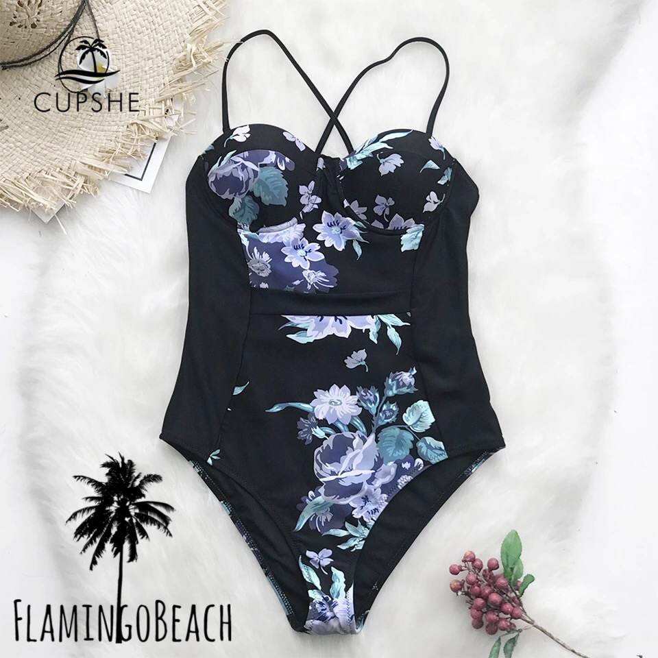 【FlamingoBeach】black flower monokini モノキニ