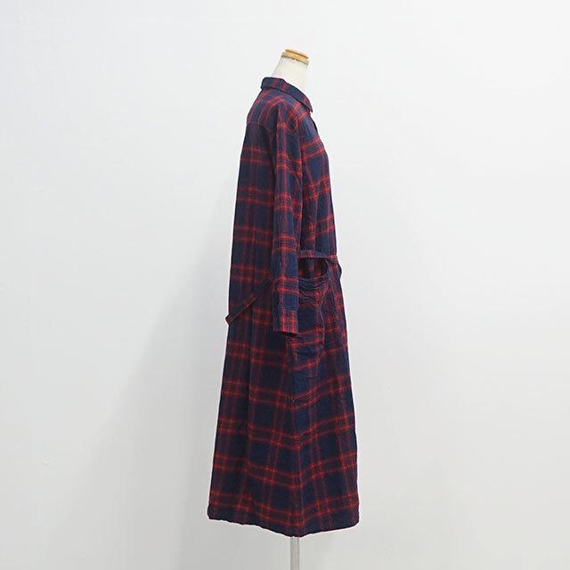 ichi イチ インディゴチェックシャツワンピース (品番190708)