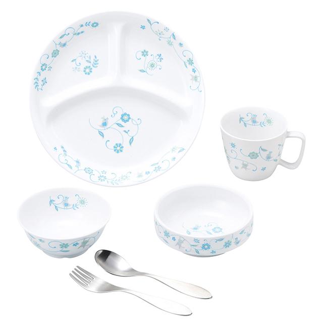 【SET-0063 1320】強化磁器 こども用 食器&スプーンフォークセット サラサ・ブルー