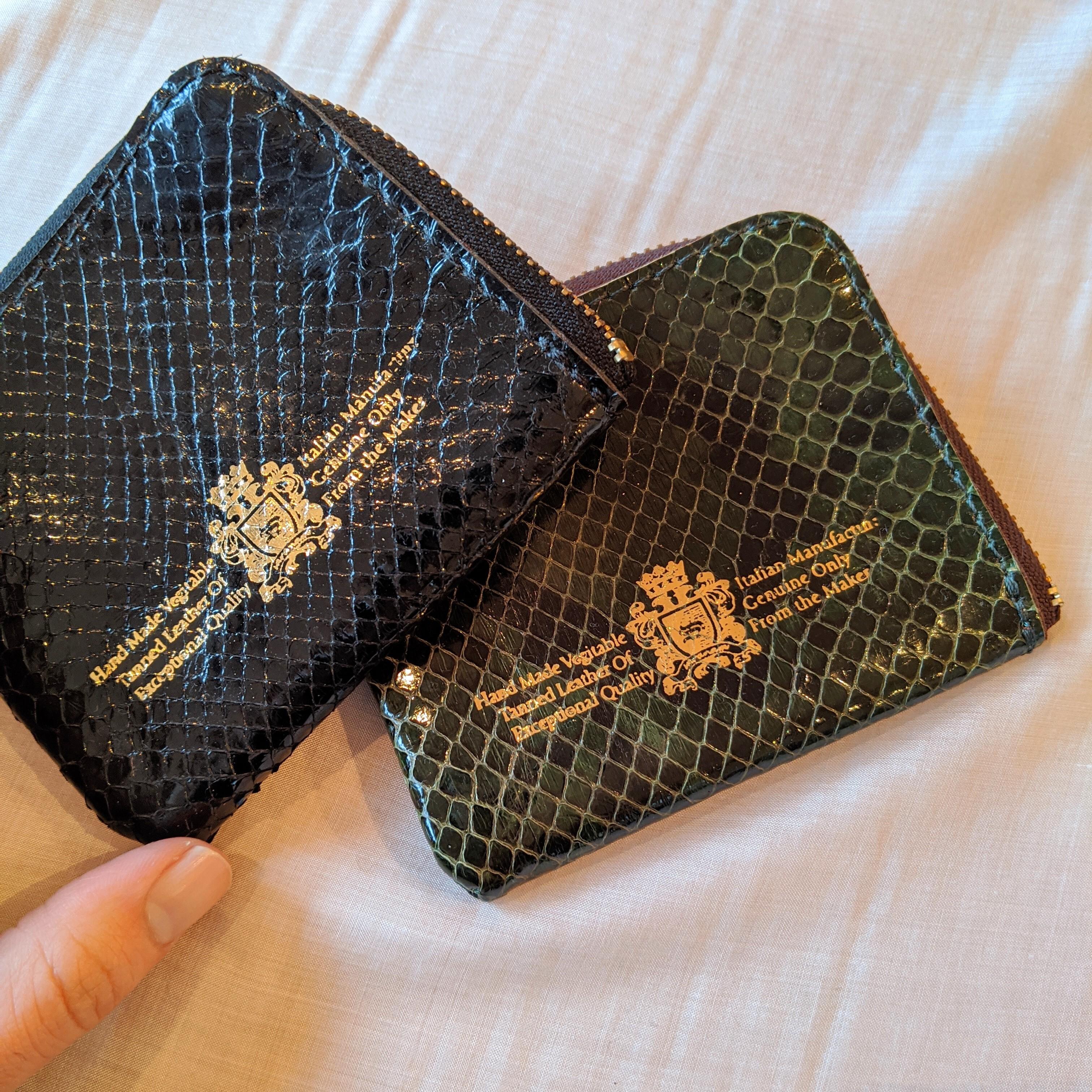 【 saranam 】サラナン pythonleather 二つ折り財布 / wallet ヘビ革
