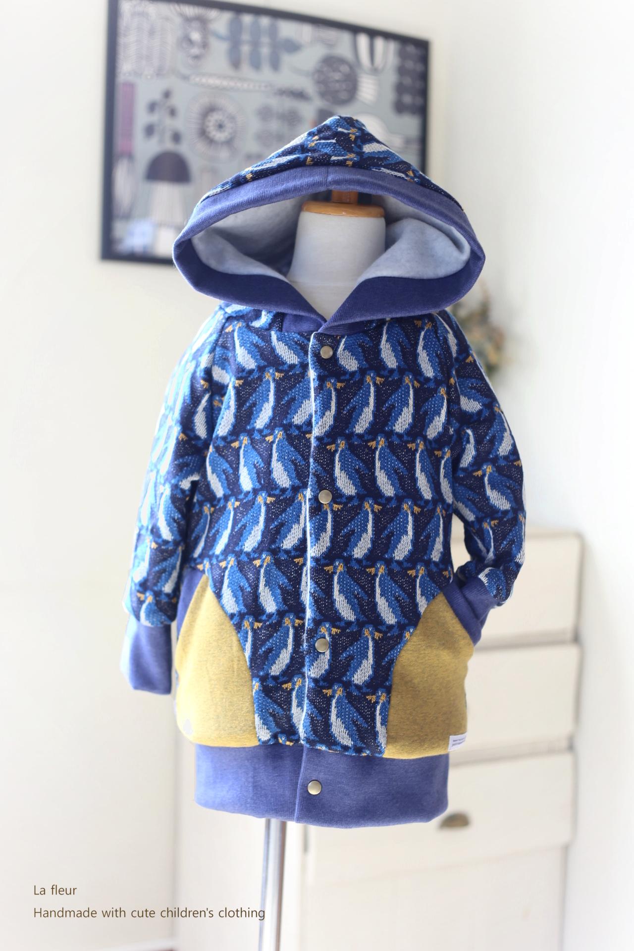 【100】ロングブルゾン・フード付ロングコート*ペンギン 紺 裏地付き/Lafleur