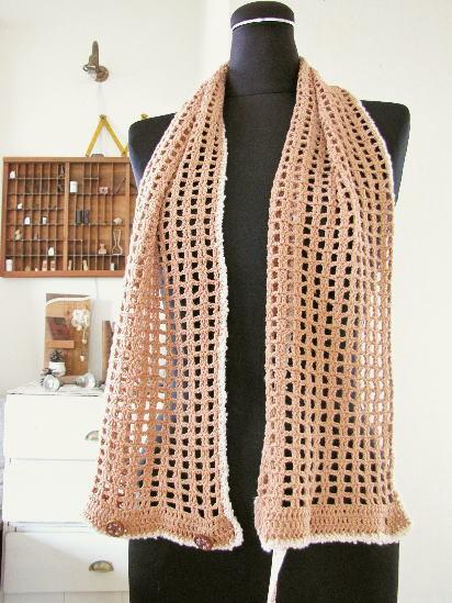 手編み*ストール ボタン付き オレンジベージュ/sakura
