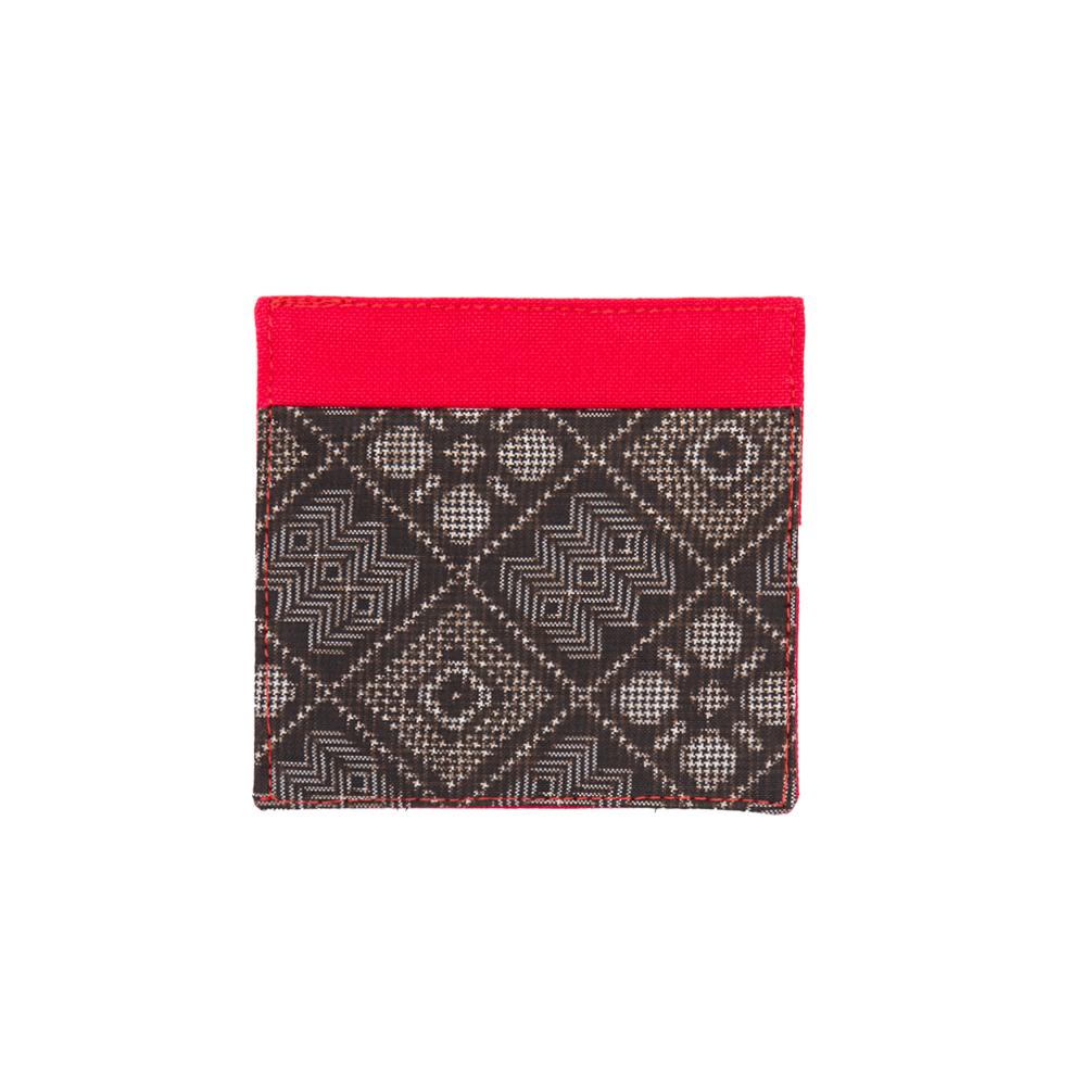 大島紬のコースター   赤色