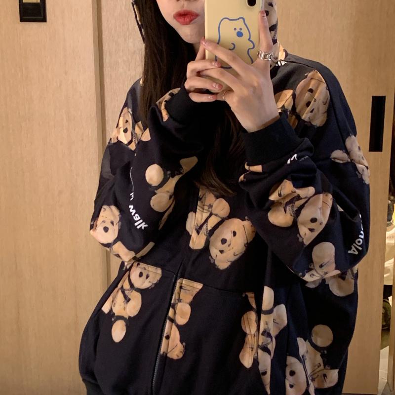 【tops】プリントフード付きファッションパーカー24993582