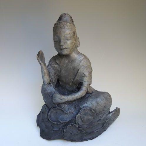 黒陶の仏像 (船越保氏作)F44