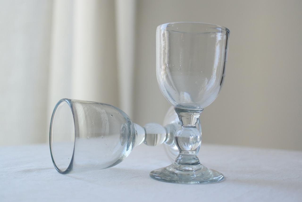 吹きガラスのリキュールグラス2脚セット
