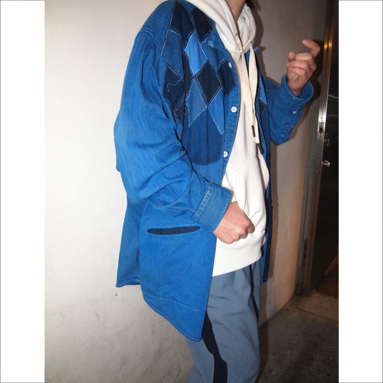 【sandglass】argyle denim shirt A/ 【サンドグラス】アーガイル デニム シャツ エー