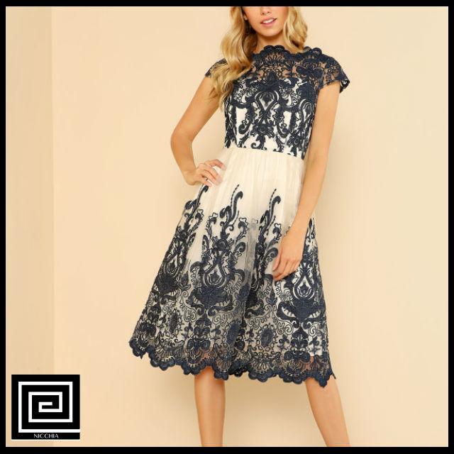 シャインコントラストフィットフレアメッシュドレス