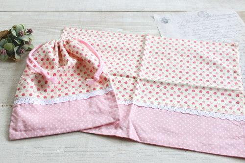 給食セット*巾着・ナフキンセット いちご ピンクドット/A*K 型番:A24