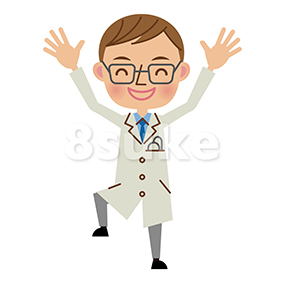イラスト素材:バンザイをする医者・ドクター(ベクター・JPG)