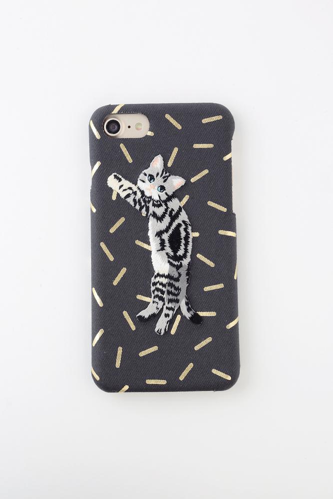 【iPhone6/6S専用】刺繍iPhoneケース グレーストライプキャット【箔プリント】