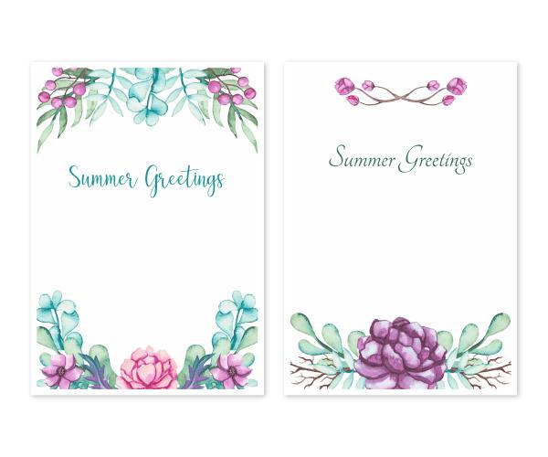 花の水彩画2|暑中お見舞い/ポストカードのテンプレート2点セット