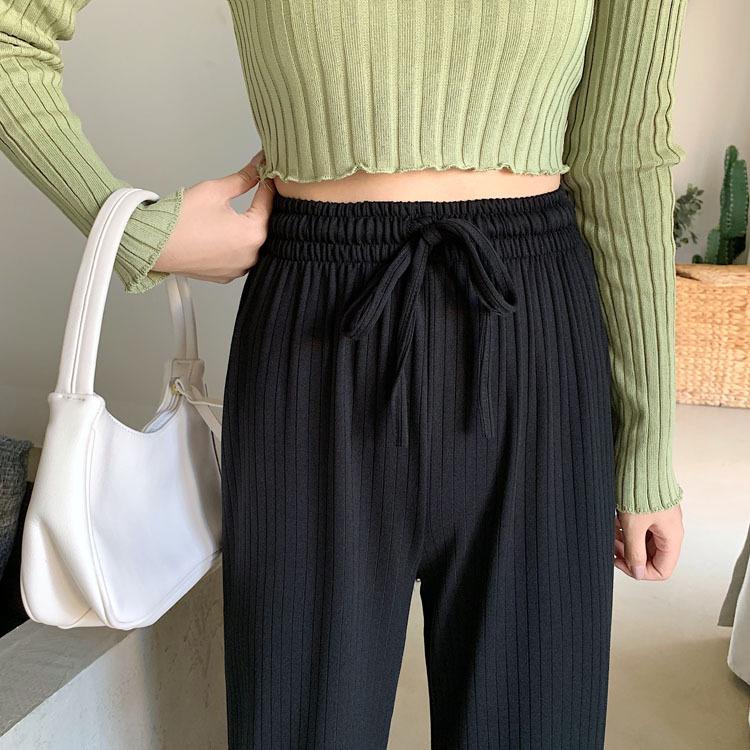 〈Ranking No.7〉リブニットワイドパンツ【lib knit wide pants】