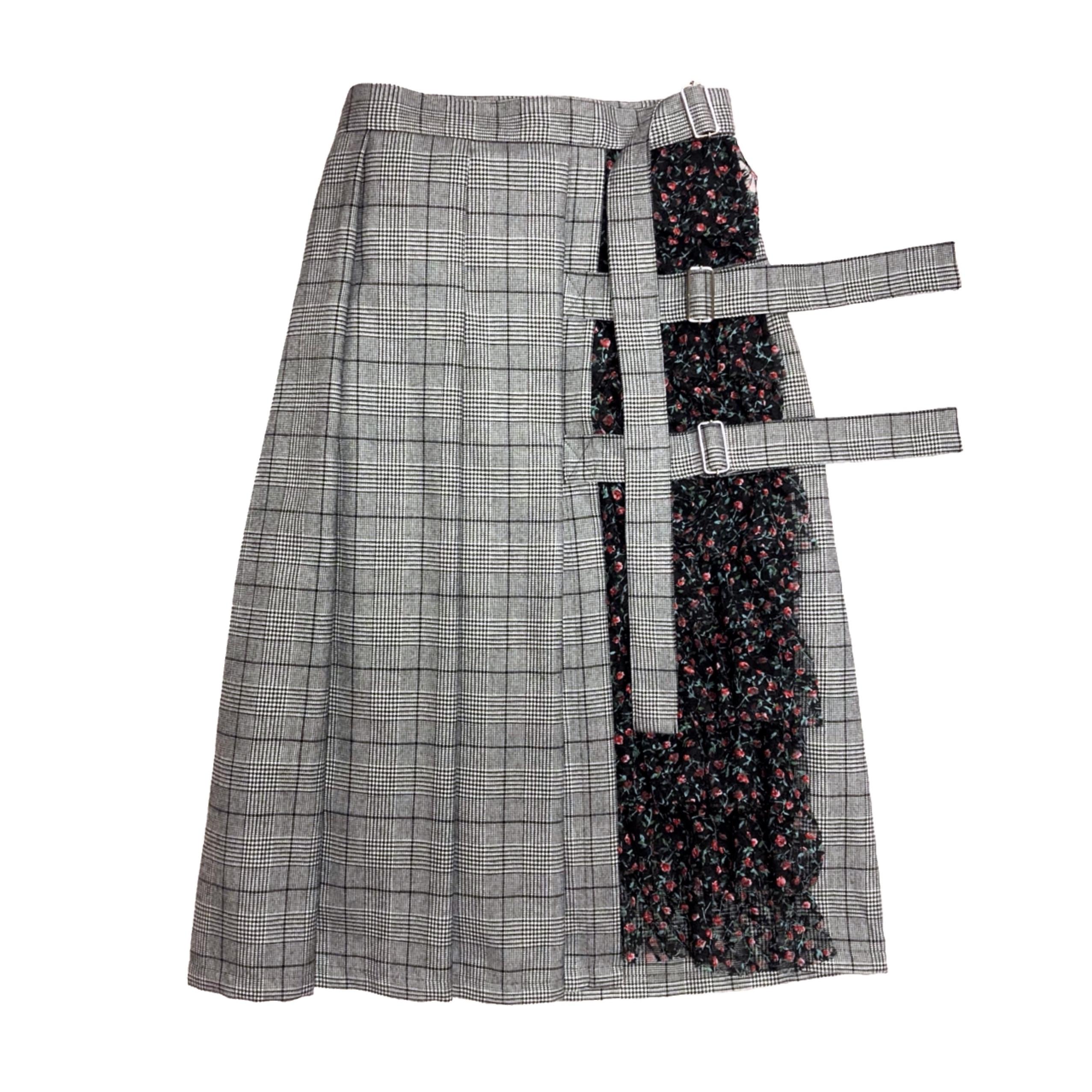 フリル巻きスカート(グレーチェック)