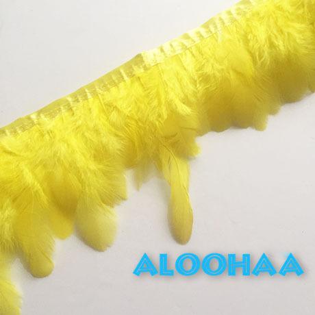 フェザーロール【黄色】7-12cm丈 1m DIY 羽 衣装材料 タヒチアン