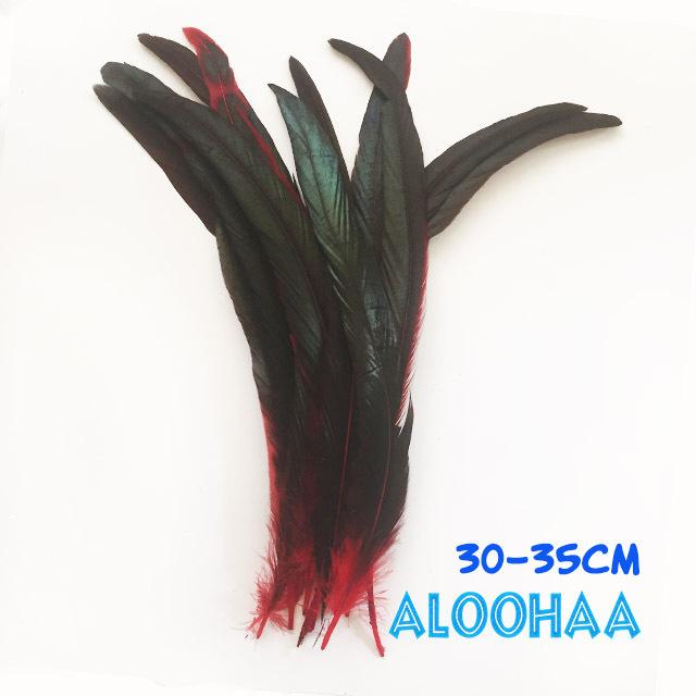 ロングフェザー 【赤】30-35cm タヒチアン 衣装 材料 ルースターテール 染め 羽根