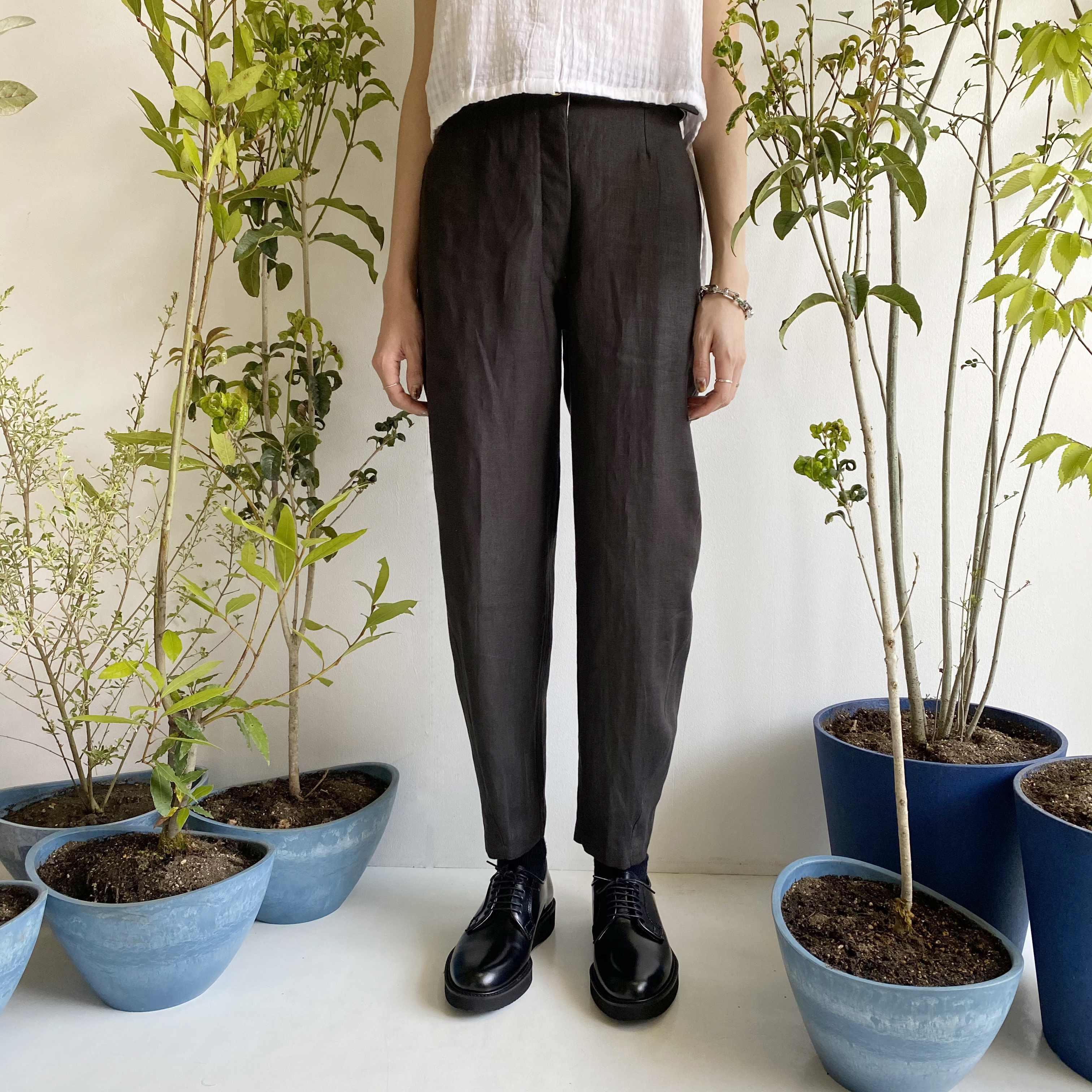 """High waist trousers """"Black kassis"""" natural dyed"""