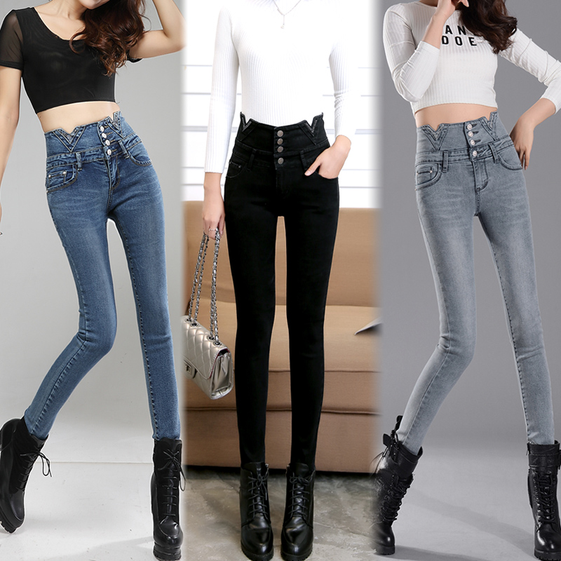 「ボトムス」ファッション大人気オススメハイウエスト女性らしい3色デニムパンツ