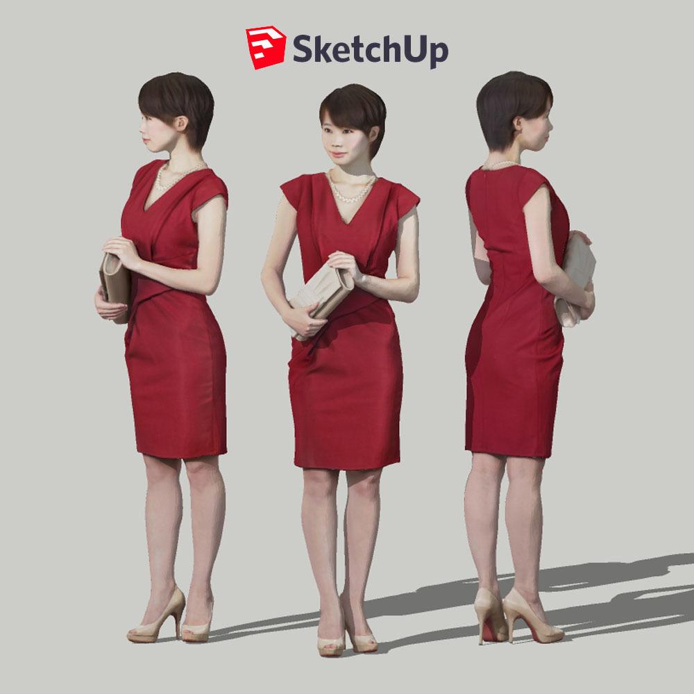 SketchUp素材 3D人物モデル ( Posed ) 023_Haru - 画像1