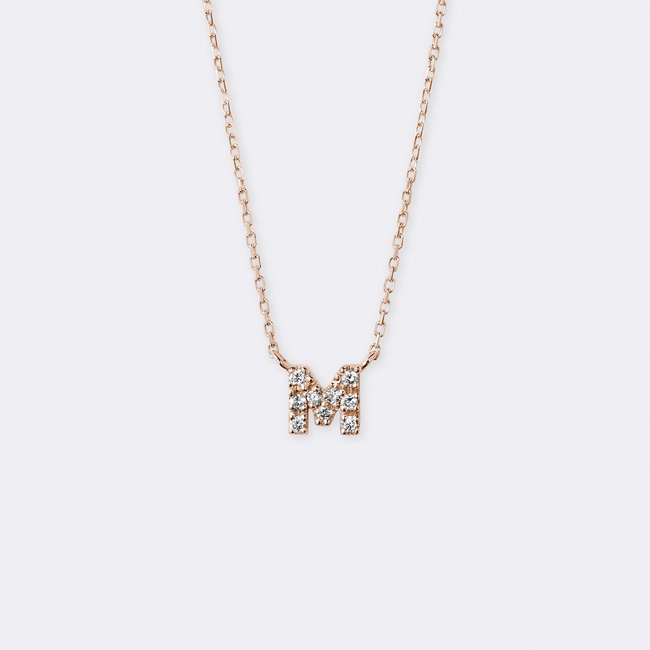 Initial Diamond Necklace K10PG(イニシャルダイヤモンドネックレス K10ピンクゴールド)