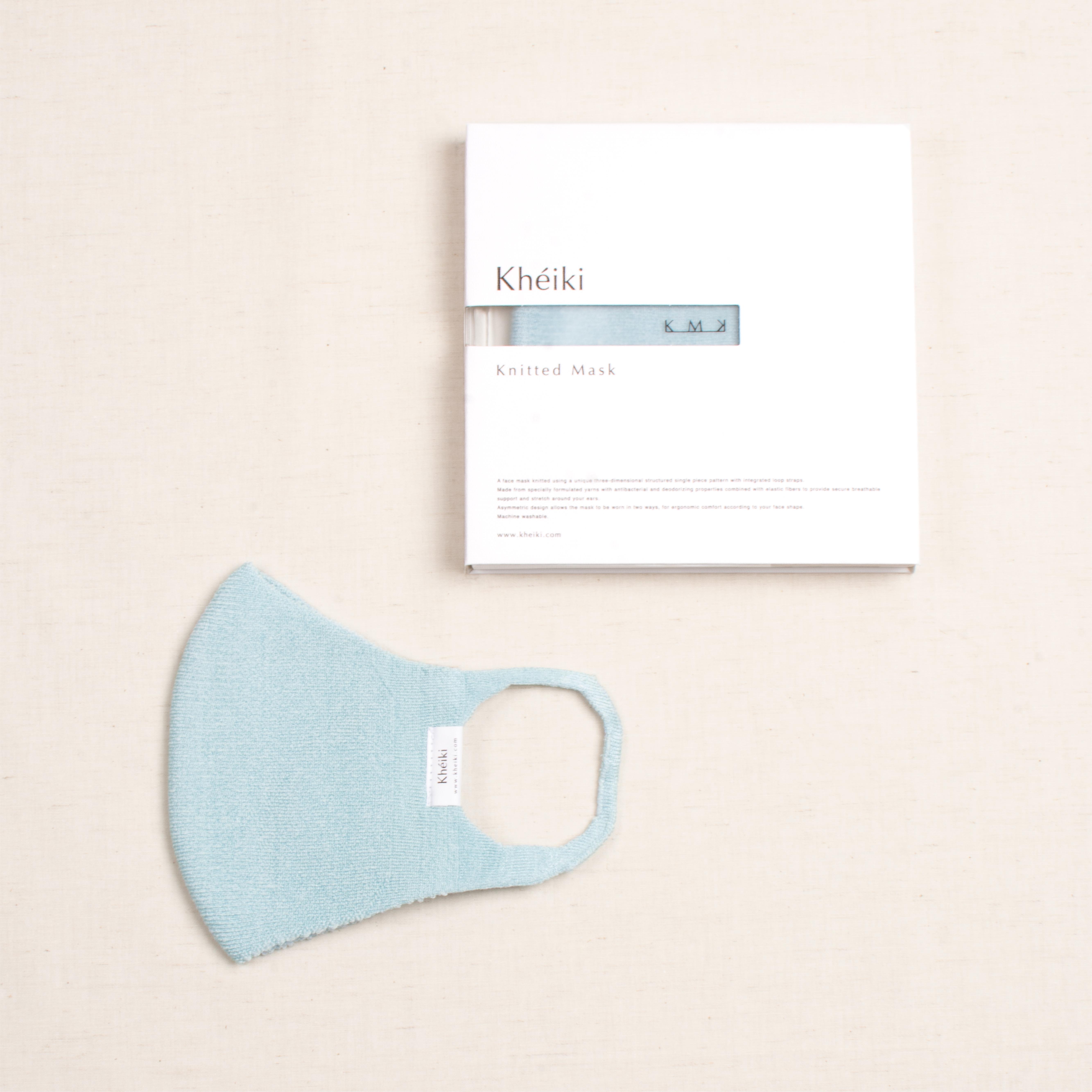 Knitted Mask 2pcs Set / KMK / Tussar Silk Filament / #Glacier
