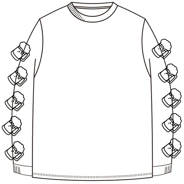 ビール ロングスリーブTシャツ(白) - 画像2