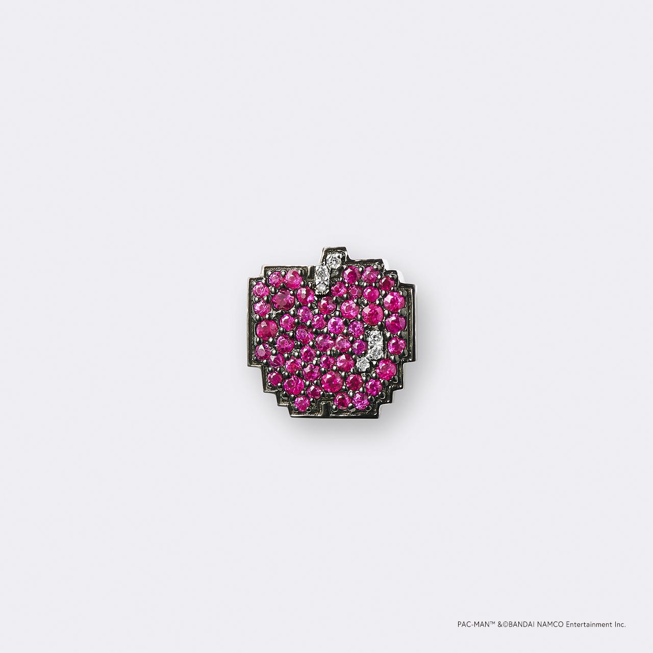 PAC-MAN  (パックマン) K18WG・ボーナスフルーツ アップル/ ルビー・ダイヤモンドピンバッジ